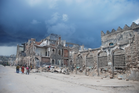 MOGADISHU, SOMALİA-APRİL 29, 2013: The old city center of Mogadishu Editorial