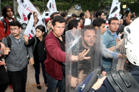 ISTANBUL, TURKEY-MAY 9: Turkish Police intermeddled student protesters who protest Turkish Prime Minsiter Recep Tayyip Erdogan on May 9, 2013 in Istanbul, Turkey.