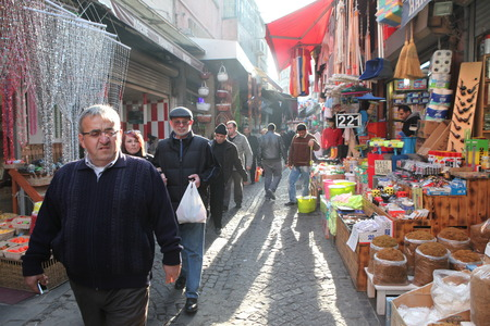 Crowded street in the city of Istanbul, Turkey