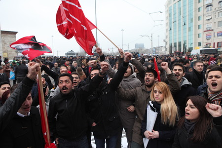 ISTANBUL, TURKEY-FEBRUARY 26, 2014  Rebuplican People s Party organised a protest, which relate to allegations of corruption and bribery in Taksim Square  Editorial
