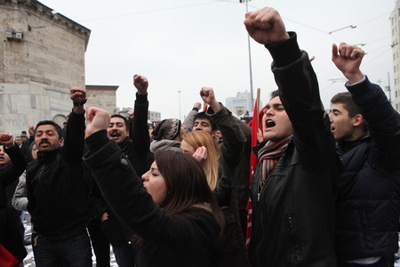 allegations: ISTANBUL, TURKEY-FEBRUARY 26, 2014  Rebuplican People s Party organised a protest, which relate to allegations of corruption and bribery in Taksim Square  Editorial