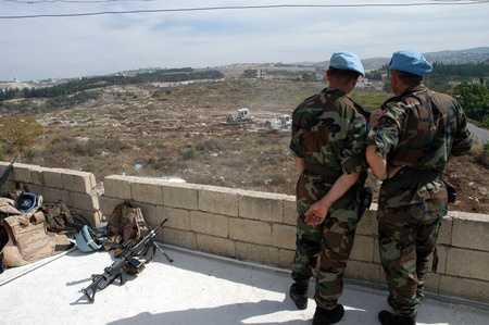 TYRE, LEBANON-OCTOBER 18:UN soldier on patrol on October 18, 2006 in Tyr, Lebano Editorial
