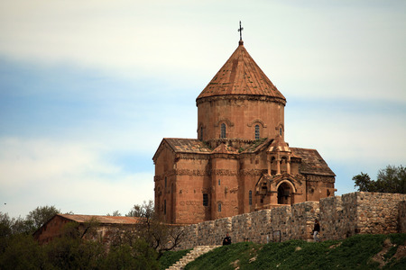 The Armenian Cathedral Church of the Holy Cross in Akdamar Island in Van Lake Turkey Stock Photo - 39571712