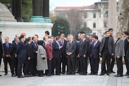 minister: ISTANBUL,TURKEY-JANUARY 13 : Turkish Prime Minister Ahmet Davutolu and German Interior Minister Thomas de Maiziere visited the site of the explosion at Sultanahmet Square on Jan 2016 in Istanbul. Editorial