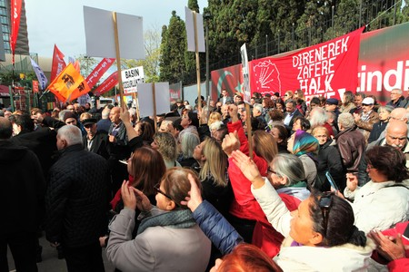 arrests: ISTANBUL,TURKEY-NOV 1 : Turkish police have detained the editor and at least 12 senior staff of Turkey's opposition Cumhuriyet newspaper in a widening crackdown on dissenting voices on Nov 1, 2016 Editorial