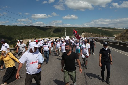 protester: ISTANBUL, TURKEY - JULY 06: Opposition party leader Kemal Kilicdaroglu is walking for justice on July 06, 2017 in Istanbul, Turkey. Editorial