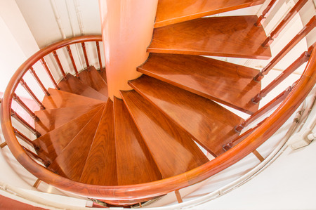 handrails: Wood stairway with hand-rails