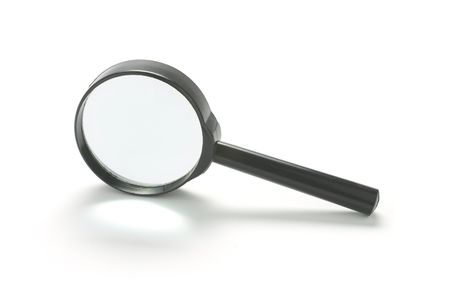enhancement: Magnifying glass on white background with shadow Stock Photo