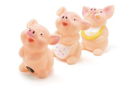 queueing: rubber piggies on white background