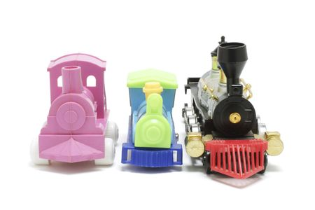 toy trains on white background Stock Photo - 10811465