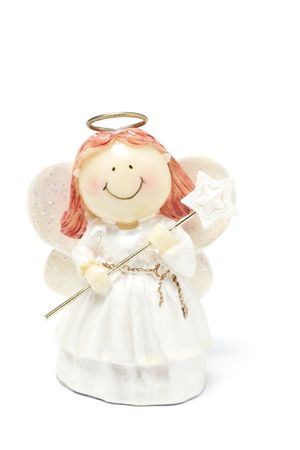 merriment: Angel Figure on White Background Stock Photo