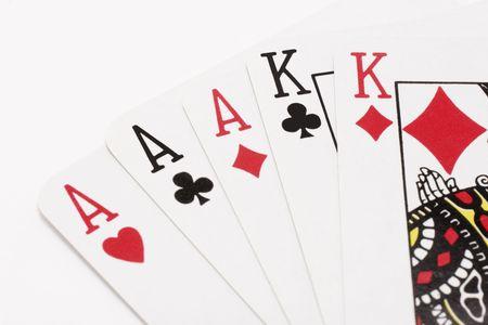 Schließen Sie oben vom Spielen der Karten