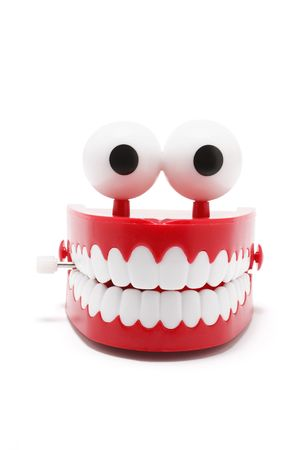 artificial teeth: Toy Dentrue on White Background