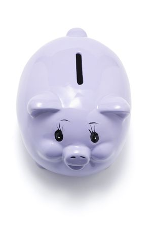 thrifty: Piggybank on White Background Stock Photo