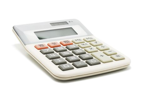 oncept: Calculator on White Background Stock Photo
