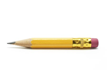 writing instrument: Short Pencil on White Background