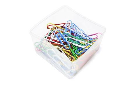 Vinyl Paper Clips in Plastic Box on White Background photo