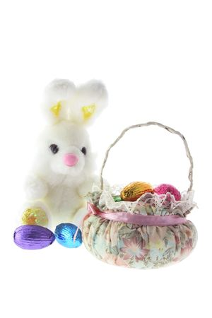 Easter Bunny and Basket on White Background photo