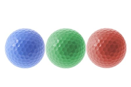 Color Golf Balls on White Background Stock Photo - 2910596