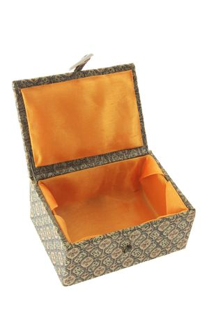 giftware: Oriental Gift Box on White Background Stock Photo