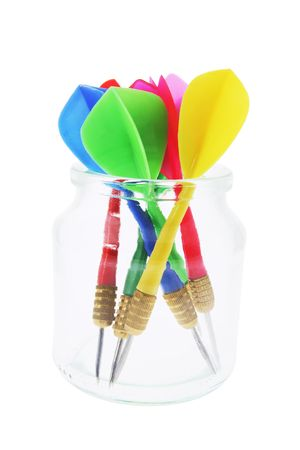 Darts in Glass Jar on White Background photo
