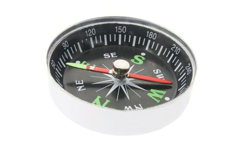 magnetism: Compass on White Background