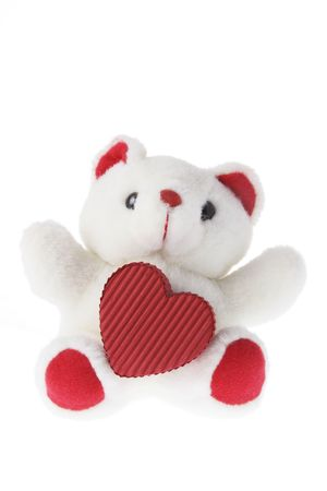 Teddy Bear with Love Heart on White Background photo