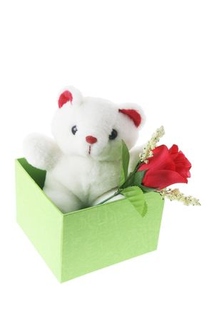loveheart: Teddy Bear in Gift Box on White Background