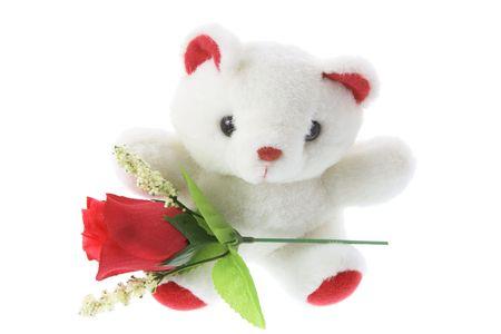 Oso de peluche con rosas rojas Foto de archivo - 3532779