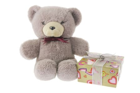 Teddy Bear with Gift Box on white Background photo