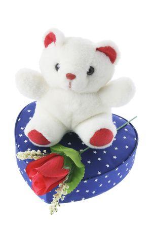 Teddy Bear on Gift Box on White Background photo