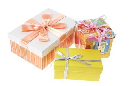 Gift Boxes on White Background Stock Photo - 3533808