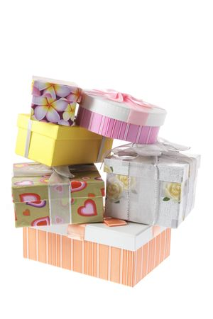 Stack of Gift Boxes on White Background photo
