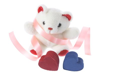 loveheart: Teddy Bear and Gift Boxes on White Background