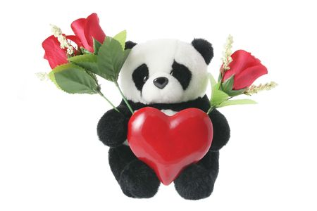 loveheart: Panda Soft Toy with Love Heart on White Background