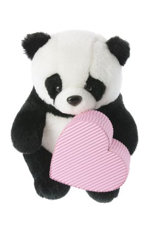 loveheart: Panda Soft Toy with Love Heart