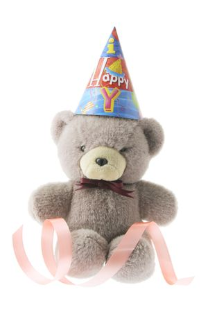 Tedy Bear with Party Hat on White Background photo