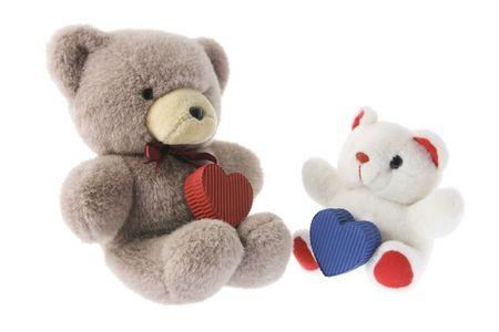Teddy Bears with Gift Boxes on White Background photo