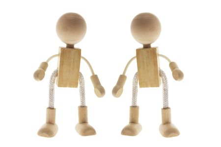 Wooden Children Figures on Isolated White Background Stock Photo - 3532514
