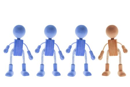 Wooden Children Figures on Isolated White Background Stock Photo - 3534283