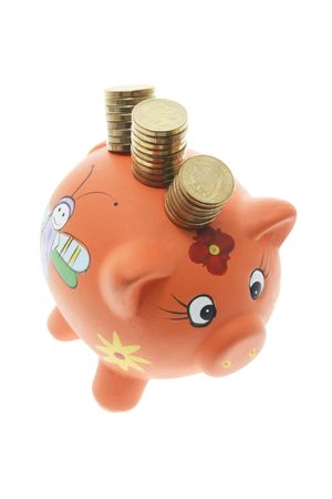 Piggy Bank with Stacks of Coins on White Background Stock Photo - 3532676