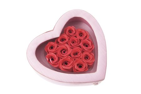 Red Roses in Gift Box on White Background Stock Photo - 3532890