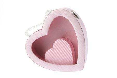 Heart Shape Gift Box on White Background photo