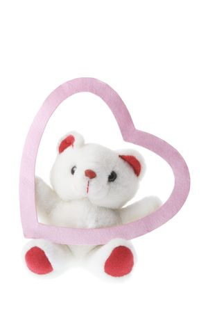 Teddy Bear and Love Heart on White Background photo