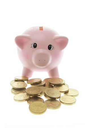 Piggy Bank with Coins on White Background Stock Photo - 3532609