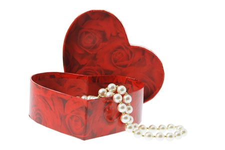 Pearl Necklace in Gift Box on White Background photo