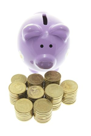Piggy Bank with Stacks of Coins on White Background Stock Photo - 3532905