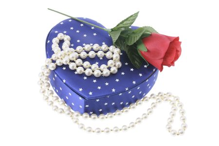 Pearl Necklace on Gift Box on White Background photo