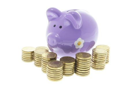 Piggy Bank with Stacks of Coins on White Background Stock Photo - 3532799