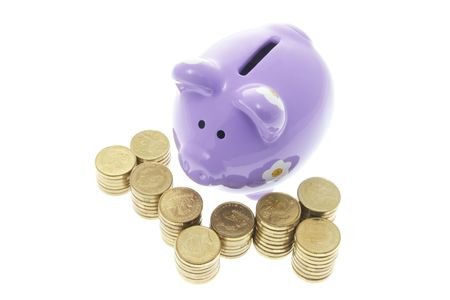 Piggy Bank with Stacks of Coins on White Background Stock Photo - 3534302